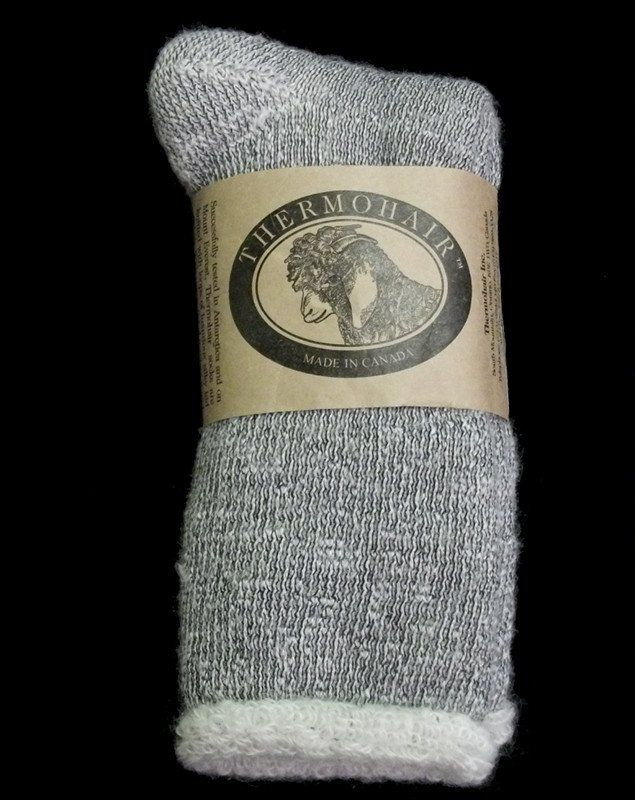 Non-elastic leg mohair socks for her and him made by the original 'Goat Lady of South Mountain'. Pre-washed and pre-shrunk