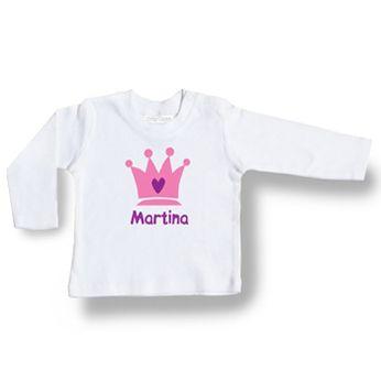 3aa3371e3 CAMISETA PERSONALIZADA ALGODON ORGANIZO CORONA ROSA. Ropa personalizada para  bebé. Ropa y regalos personaliz…