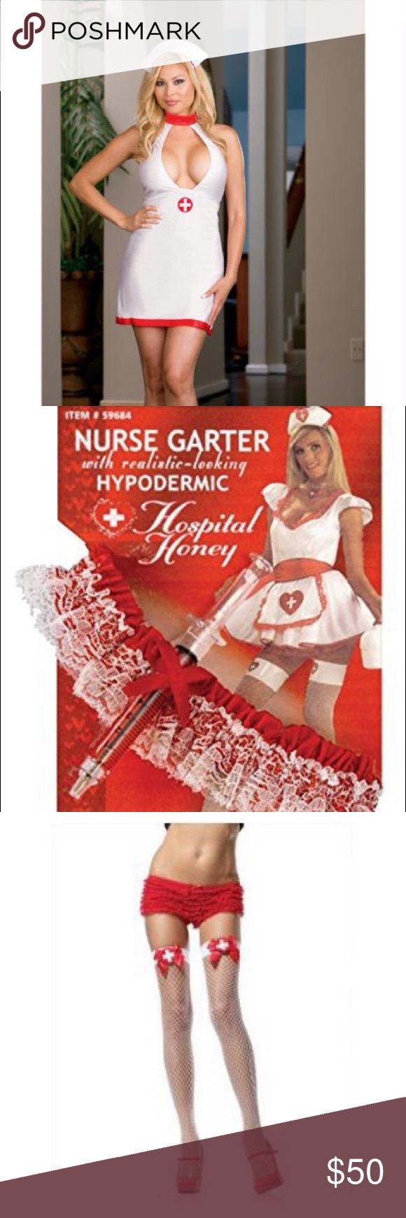 New Sexy Bedroom Nurse Role Play Costume + EXTRAS! Brand new role play or Halloween costume Bedroom Nurse in size One Size Fits Most Queen. This also comes with Nurse Honey accessories of thigh high fishnets in one size fits most up to 160 lbs, choker, garter belt and clipboard. I have lots of wigs you could use to complete your outfit! Check out my other listings for more costumes, wigs and accessories! Dreamgirl Other