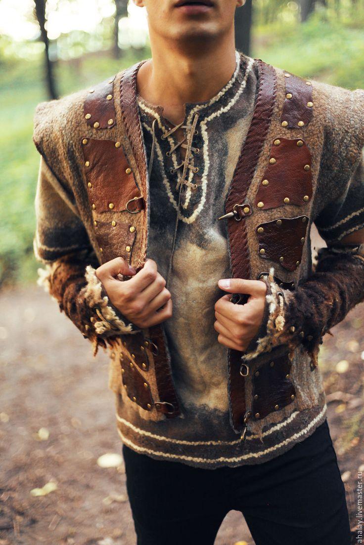 """Купить Жилет мужской валяный коричневый """"Викинг"""" - коричневый, викинги, викинг, реконструкция"""