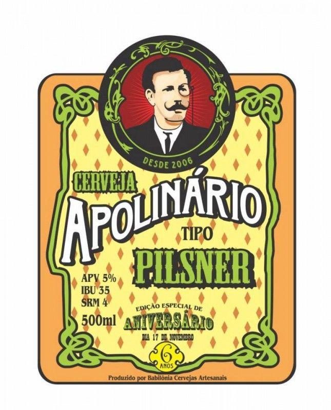 Cerveja Apolinário Pilsner, estilo Bohemian Pilsener, produzida por  Cervejaria Caseira, Brasil. 5% ABV de álcool.