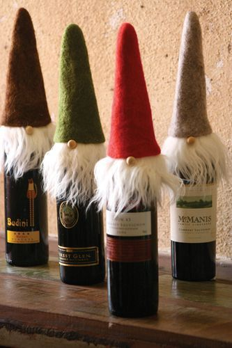 Felt Santa Wine Bottle Toppers Set/4  Head turner for your holiday party!