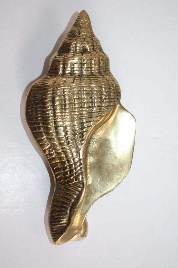 Vintage brass seashell door knocker brass conch shell door knocker solid brass door knocker - Nautical door knockers ...