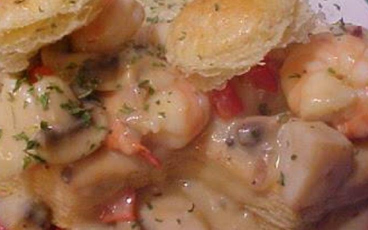 Recette : Casserole de fruits de mer. (sur vol-au-vent)