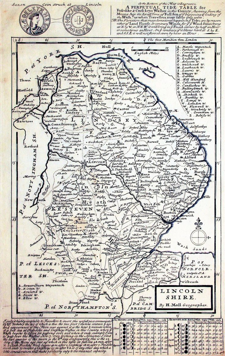 1724 map of Lincolnshire - 2524x4000 pixels