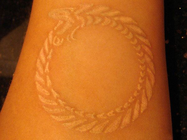 white ink 25 Fantastic Ouroboros Tattoo Collection