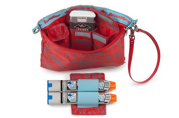Allermates medical bag. Can carry two Epipens, aerochamber, inhaler, allerject (auvi-q) and liquid allergy meds.
