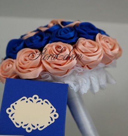 Персиковый с синим букет невесты из атласных лент. Купить или заказать букет невесты можно в Нарве. Доставка по всей Эстонии Информация: + 372 53 815 356