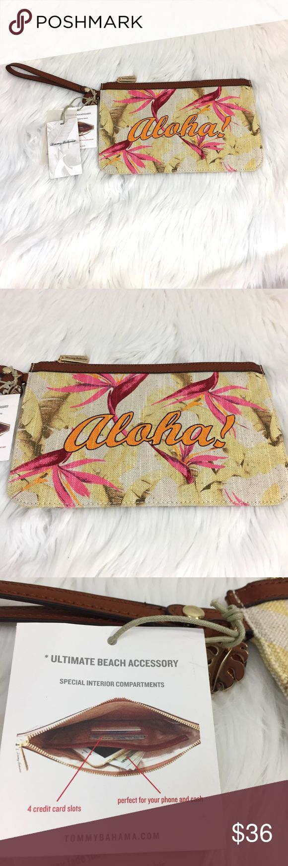 "Tommy Bahama Boca Chica Wristlet in Aloha NWT Tommy Bahama Boca Chica Beach wristlet in Aloha! Measures approximately 10.75"" x 6.75"". Great for travel to keep essentials in your beach bag or purse. Tropical and fun!  A must-have if you are planning travel to Hawaii. Tommy Bahama Bags Clutches & Wristlets"
