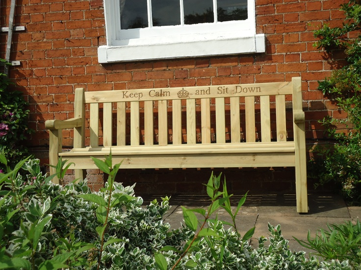 FSC Certified Pine Darwin Bench - Keep Calm & Sit Down Engraved