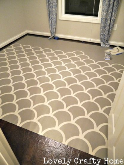 Painted Vinyl Floor Cloth : Stencil at Lovely Crafty Home