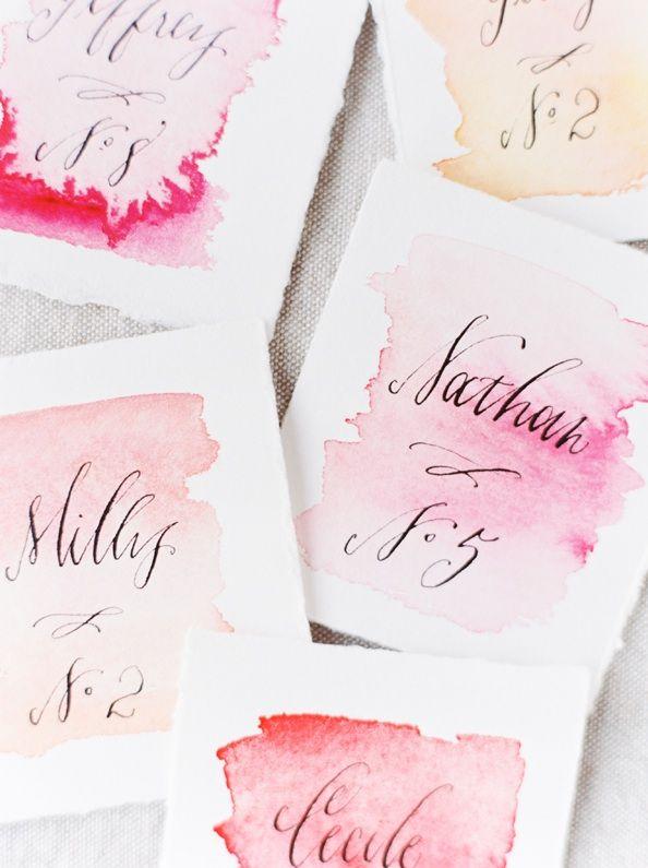 DIY Wedding Watercolor Escort Cards via oncewed.com
