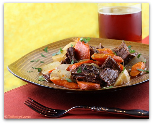 Beer-Braised Beef with Onion, Carrot and Turnips