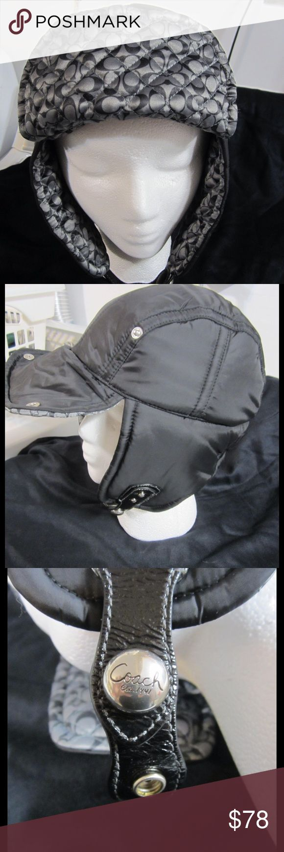 Coach Hat Black and gray trapper/bomber winter hat. Size small. Silver snap under chin. Coach Accessories Hats