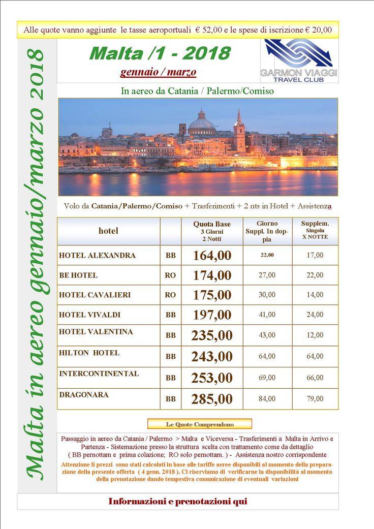 "Malta da Gennaio a Marzo 2018 – ""NUOVO"" – Garmon Viaggi Tour Operator"