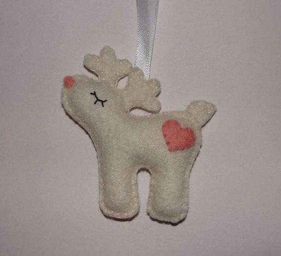 Felt Reindeer Ornament Deer Ornament Felt Reindeer by NitaFelt