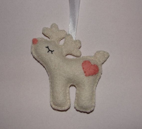 Felt Reindeer Ornament Deer Ornament Felt Reindeer by NitaFelt