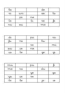 Material imprimible para crear un bingo de sílabas directas. Las letras son de caligrafía y refuerzan el aprendizaje de la lectoescritura.