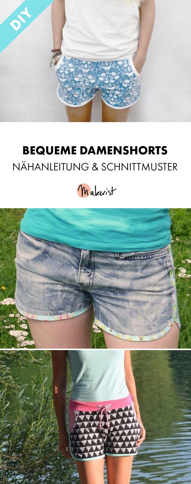 Bequeme Sommershorts für Damen - Nähanleitung und Schnittmuster via Makerist.de