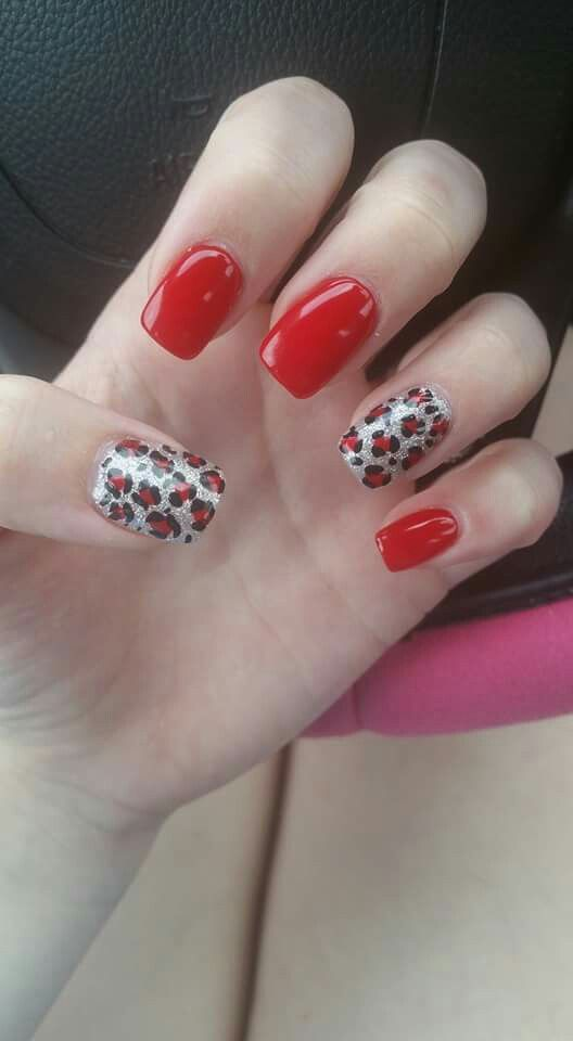 Red cheetah nails
