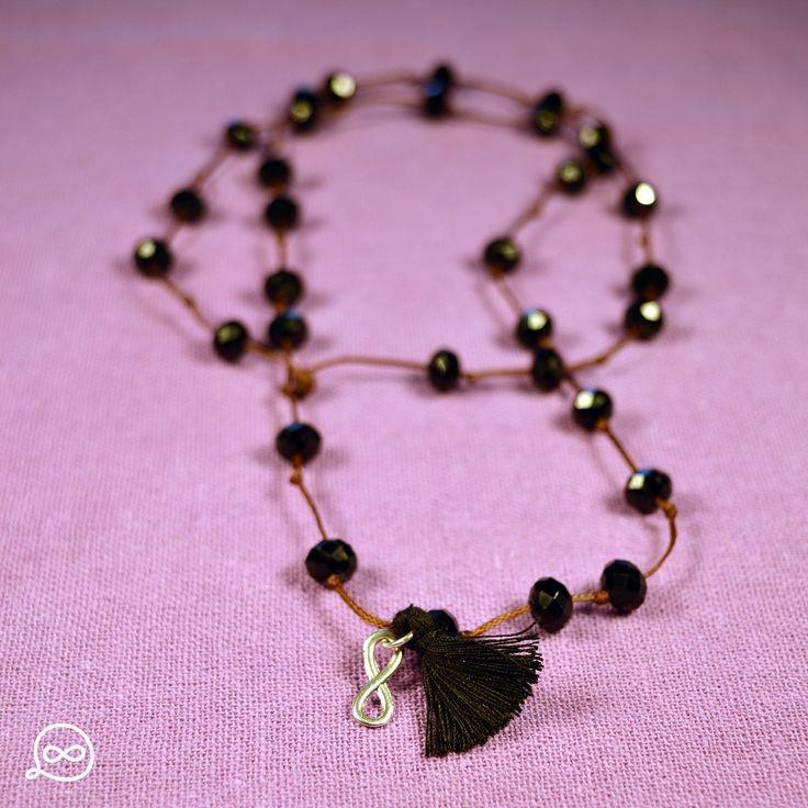 Black Beads & Tassel Necklace. #tufatufa