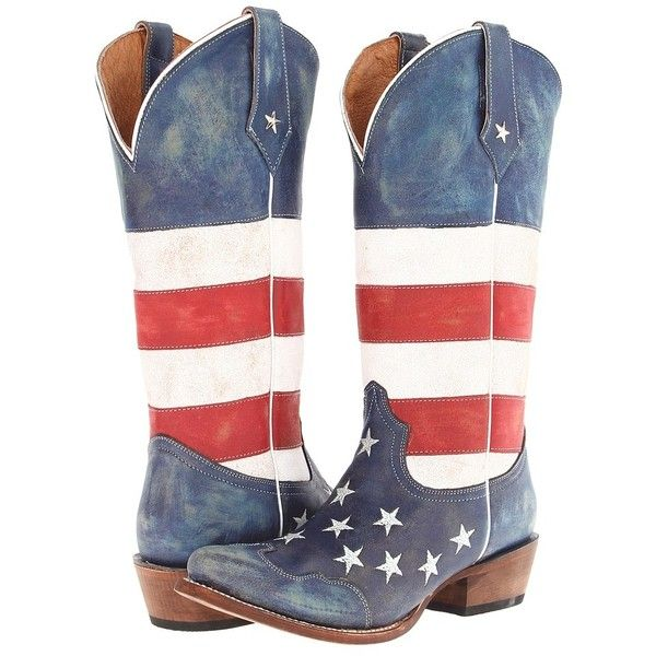 Roper American Flag Snip Toe (Red/White/Blue) Cowboy Boots ($230) ❤ liked on Polyvore featuring shoes, boots, usa, knee-high boots, mid-calf boots, blue cowgirl boots, red cowgirl boots, white knee high boots, blue cowboy boots and western boots