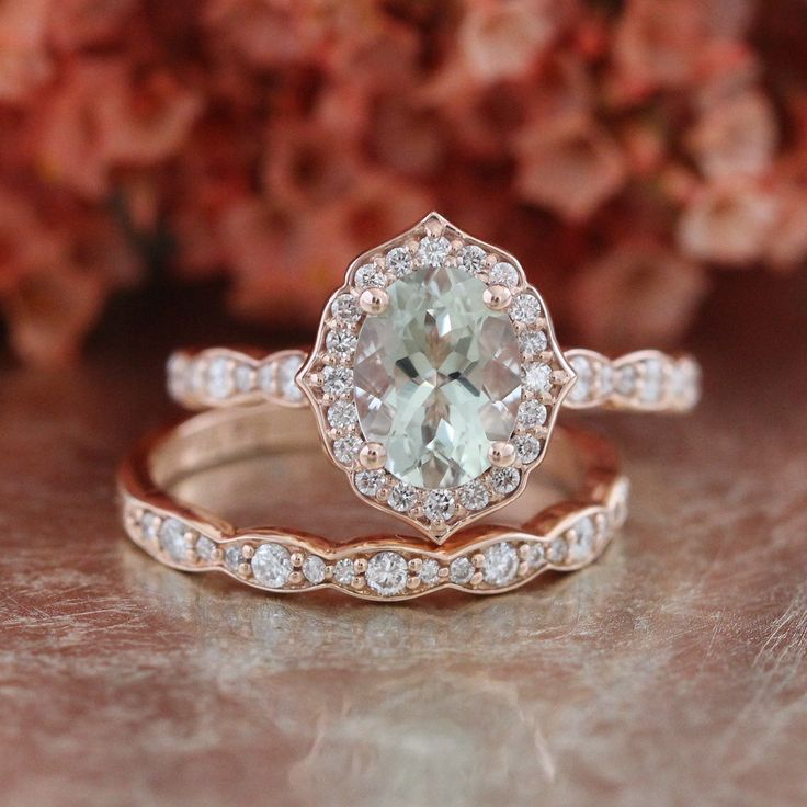 Bridal Set Vintage Floral Amethyst Engagement Ring and Scalloped Diamond Wedding Band in 14k Rose Gold 8x6mm Oval Green Gemstone Ring Set by LaMoreDesign on Etsy