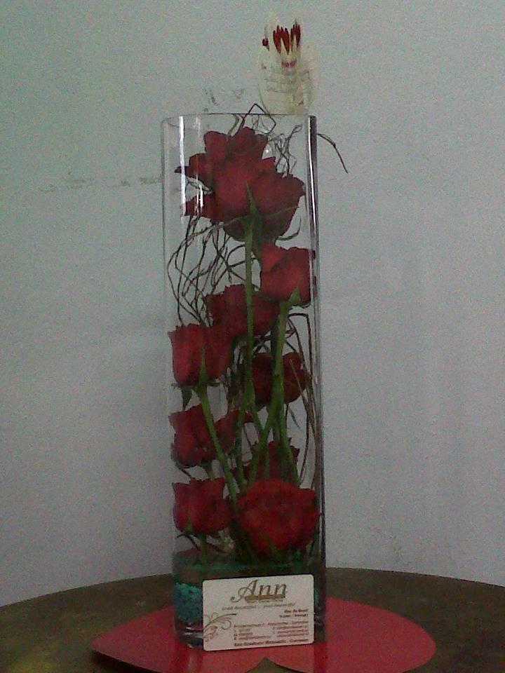 Vase Arrangement Red Roses Ann