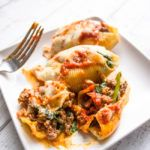 Spinach and Ground Beef Stuffed Shells | Gimme Delicious
