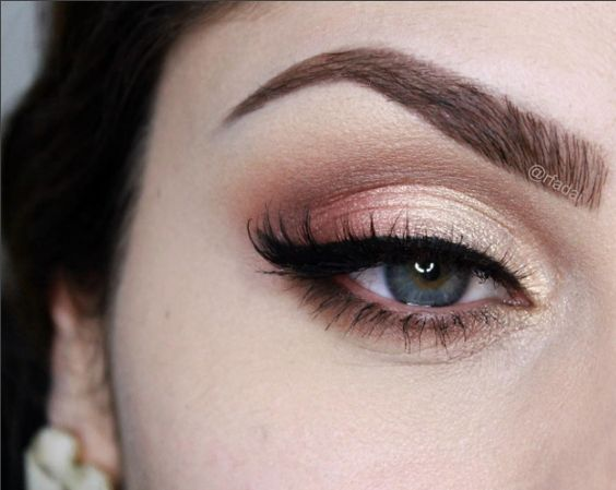 soft shimmery gold and peach eye ~  we ❤ this! moncheribridals.com: