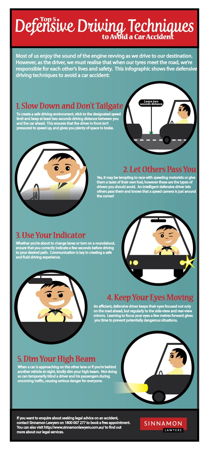Top 5 Defensive Driving Techniques to Avoid a Car Accident   #infographic #Driving #CarAccidents