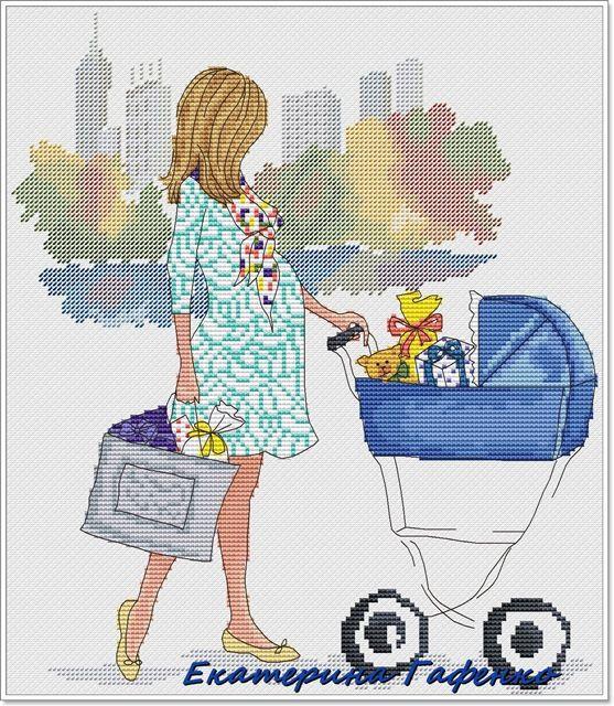 Borduurpatroon Kruissteek Vrouw *Cross Stitch Pattern Woman (helaas geen patroon *No pattern)