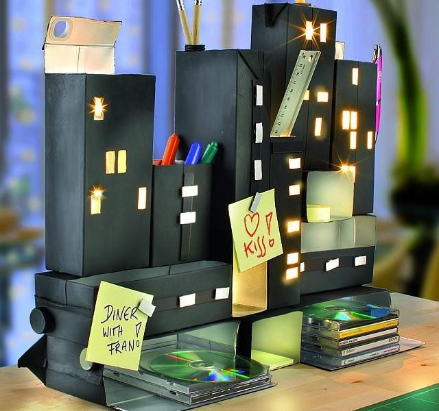 Organizador luminoso con cajas tetra recicladas - Las Manualidades