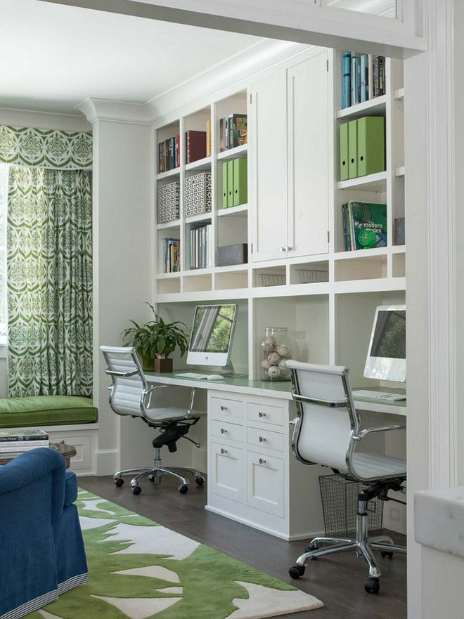 This home office, located just off the kitchen, acts as a control center for the family. Kids work on computers in open spaces, not in their rooms. The window seat is a sunbrella velvet for durability and the chairs swivel to 'talk' with the kitchen. Paint color is Benjamin Moore French Canvas.