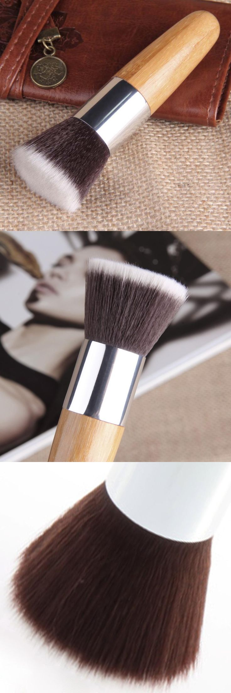 [Visit to Buy] Makeup Brush Flat Top Brush Foundation Powder beauty Brush Cosmetic Make up brushesTool Wooden Kabuki Make-up Brush new #Advertisement