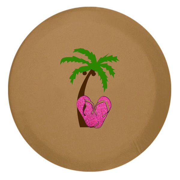 Palm Tree Glitter Flip Flops Spare Tire Cover – Spice