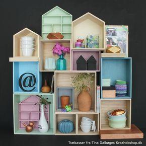 billige trækasser i kejsertræ - kasser i facon som huse, sætterkasse og aflange kasser i Tina Dalbøge Kreahobshop