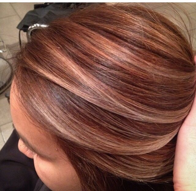 Brown Auburn and Caramel streaked hair.  Perfect for Fall!!!  #haircolor #hairstyle #haarfarbe #frisuren