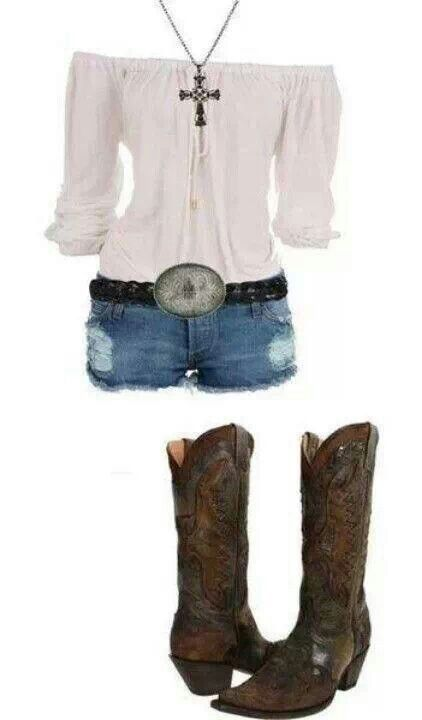 Off the shoulder top paired with denim shorts and cowboy boots.