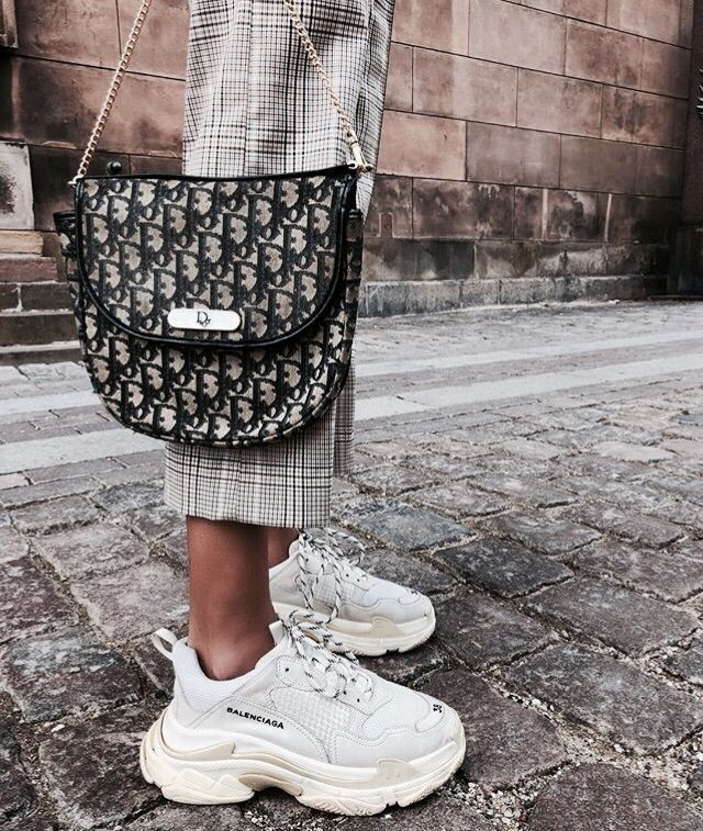 Dior purses, Balenciaga trainers outfit