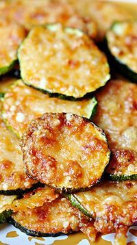 """""""Baked Parmesan Zucchini Rounds. Just had to post this...2 ingredients, about 5 minutes prep. YUM!"""""""