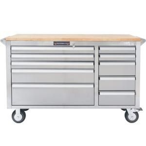 YourTools, 56 in. 10-Drawer Tool Chest with Wooden Counter Top, Stainless Steel, Y1056S at The Home Depot - Mobile