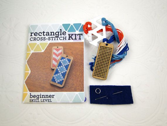 Kit  Rectangle Pendant Cross Stitch Kit in Bamboo by Beadeux, $19.00