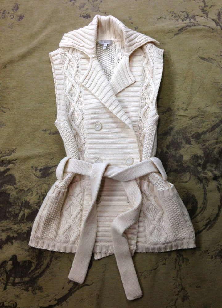JOIE IVORY WOOL CASHMERE BELTED CARDIGAN SWEATER VEST COAT WOMENS S 4 6 #Joie #Vest #Sleeveless #cashmere #jacket #cardigan
