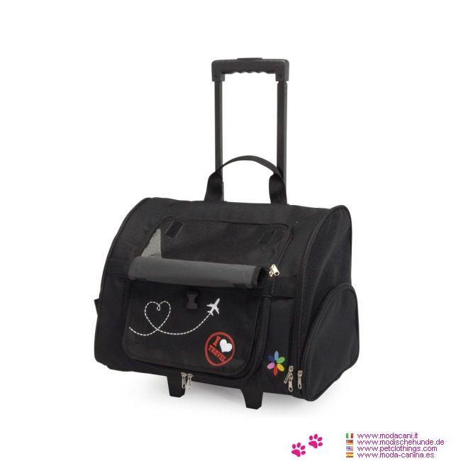 Rucksack Trolley für Kleine Hunde - Trägertasche für kleine Hunde, sehr vielseitig, da es auch als Rucksack oder als Trolley verwendet werden kann; Abmessungen: 43x36x26 cm