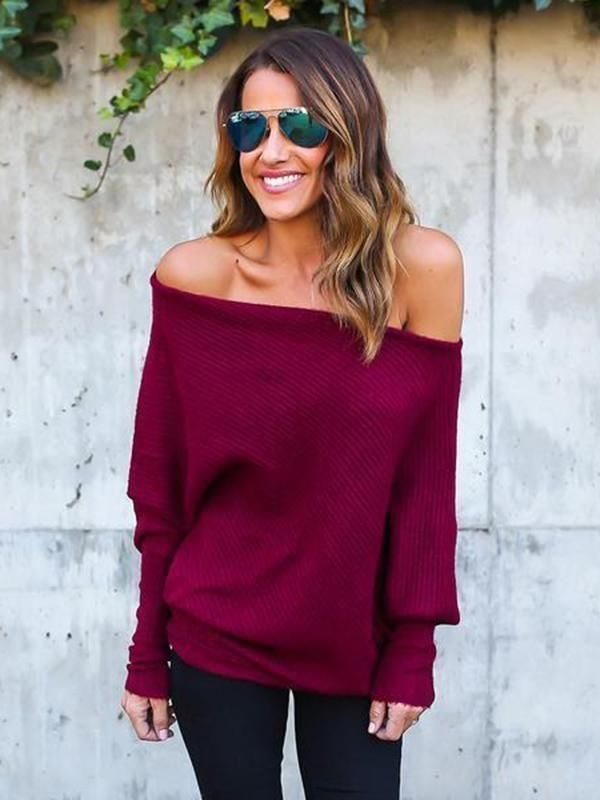 889a2a191ac600 Knitting Batwing Sleeves Off-the-shoulder Sweater Tops – bonboho ...