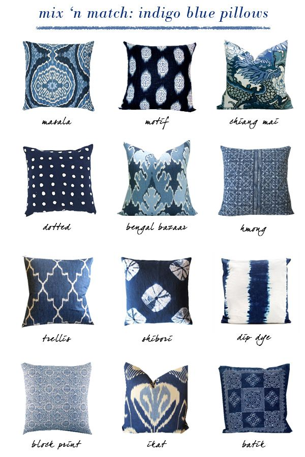 small shop: indigo blue pillows - Who knew there were so many varieties!?