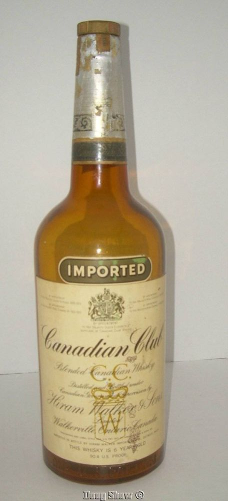 1953 Canadian Club Hiram Walker & Sons 1 Gallon Whiskey Bottle Empty