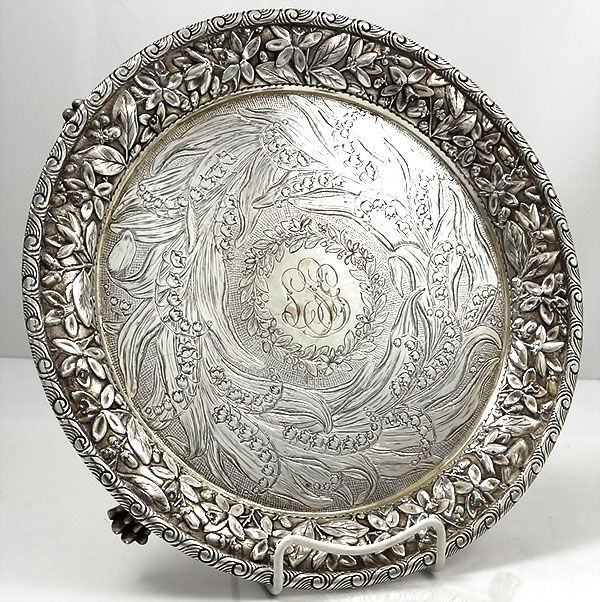 antique sterling silver Jenkins and Jenkins salver with lily of the valley engraved & 113 best Antique silver salvers images on Pinterest | Antique silver ...