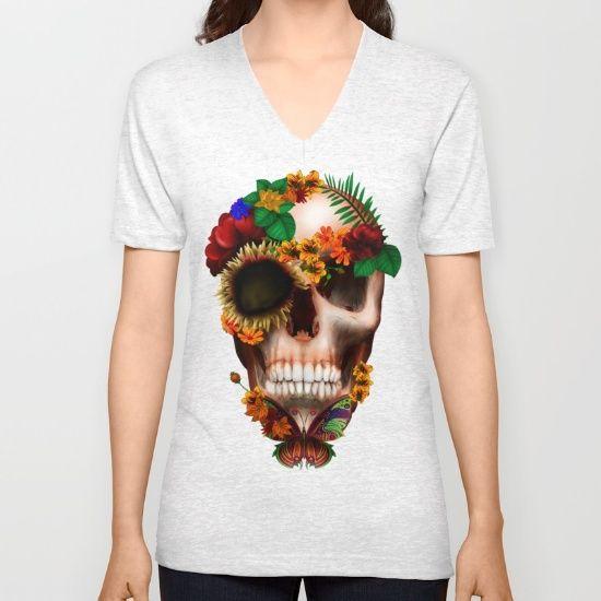 Halloween sugar skull with butterfly UNISEX V-NECK T-SHIRT #vneck #tee #tshirt #clothing #daisy #roses #floral #flower #skull #skeleton #dayofthedead #diasdemuertos #jackskellingtons #halloween #scarythenight #beforechristmas #animal #bone #tattoo #hippie #hipster #aztec #maya #indian #feather #bird #butterfly #mexico #mexican